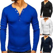 Longsleeve Sweatshirt Langarmshirt Rundhals Basic Sport Herren BOLF Uniifarben