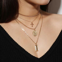 Women Men Catholic Religious Virgin Mary Gold Plated Pendant Necklace Jewelry