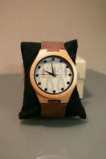 afftue mens gents light wood wrist watch brown leather strap