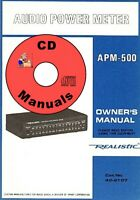 Realistic APM-500 Audio Watt Meter CD OWNER'S MANUAL 42-2107 + Schematic CD ONLY