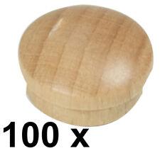 100 x Abdeckkappe Kappe aus Buchenholz lackiert Stift 13,9/14,3 mm Kopf 18 mm