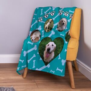 Personalised Teal Paw & Bones [5 Photo] Design Soft Fleece Throw Blanket