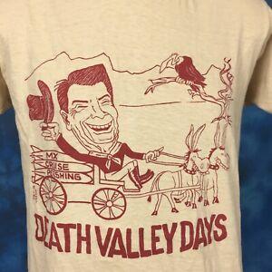 vtg 1984 DEMOCRATIC CONVENTION RONALD REAGAN CARTOON T-Shirt M 80s cowboy horse