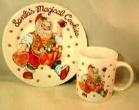 Santa's Magical Cookies Plate And Mug Cup Set Vintage Stoneware Sakura Santas