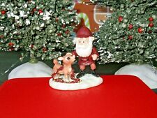 Hawthorne Village Santa w/ Young Rudolph Red Nosed Reindeer Figure Xmas 91885 B