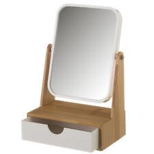 Specchio Cosmetico da Tavolo Con Cassetto Portaoggetti Legno Bambu' e Plastica