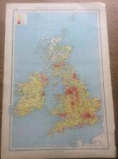 1942 Vintage John Bartholomew Atlas Map 14 x10� British Isles Geology Population