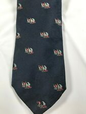 Brooks Brothers Makers Mens Tie Navy Blue Sailboats Woven in England