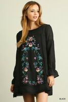 UMGEE Boho Black Floral Embroidered Long Sleeve Hippie Peasant Dress S~M~L