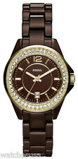 Fossil CE1055 Brown Dial Brown Ceramic Band Women's Watch