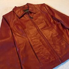 Adler Collection Soft Red Leather Coat Zip Front Jacket Women's Size Medium M
