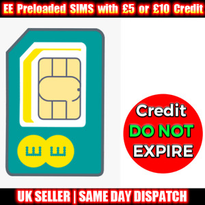 EE Pay As You Go Trio SIMs Preloaded with £5 or £10 Credit- Credit DO NOT EXPIRE