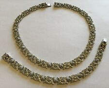 VINTAGE CROWN TRIFARI CLEAR RHINESTONE NECKLACE AND EARRINGS W3