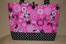 Handmade Pink Minnie Mouse Trimmed Black/White Handbag Purse Tote Bag Gift Bag