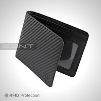 EGNT ID Carbon Wallet RFID BLACK BIFOLD GENUINE LEATHER SLIM MENS CARD HOLDER