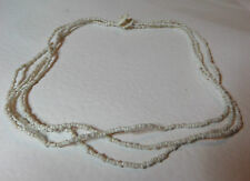 "PRETTY CREAM GLASS SEED BEAD THREE STRAND NECKLACE 16"" BUTTON & LOOP FASTENING"