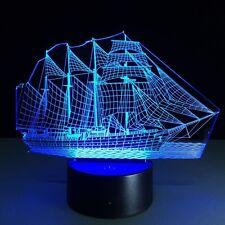 Iluminado LED 3D nuevo Lámpara De Mesa De Luz ilusión Micro USB nave de noche 7 Colores
