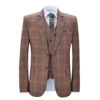 Men Tweed Plaid Suits Groom Tuxedo Wedding Suit Party Prom Dinner Suit Custom