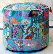 Indian Bohemian Turquoise Pouf Cover Ottoman Stool Floor Chair Pouffe Cover