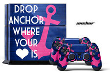 Designer Skin PS4 Playstation 4 Console + 2 Controller Decals Pink DROP ANCHOR