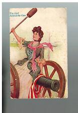 1908 Farmha Canada PAtriotic Postcard Cover to USA The Girl Behind the Gun