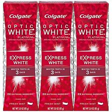 Colgate Optic White Toothpaste, 3oz 3 pack, Platinum Express White