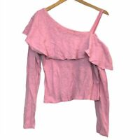 ANTHROPOLOGIE POSTMARK Ruffled One Shoulder Top Pink Ruffle Asymmetrical Small