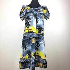 Royal Creations Hawaiian Dress Muumuu Size S Sunset Yellow Black Gray Vintage
