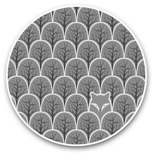 2 x Vinyl Stickers 20cm (bw) - Abstract Fox Print Forest Scene  #36533