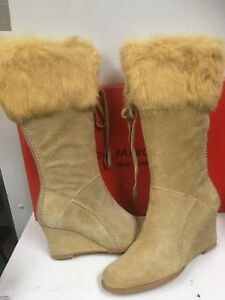 Eddie Marc & Co Wedge Boots Beige suede  leather with fur trim Size EU 39 US 8