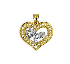 14K Solid Real Yellow Gold # 1 Mom Heart Charm Pendant