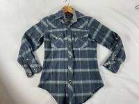 Vintage West Wool Womens Small Pearl Button Western Top Blue Plaid Wool Nylon