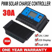 30A PWM 12V/24V Dual USB LCD PWM Solar Panel Battery Charge Controller Regulator