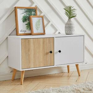 Dual Doors Cabinet TV Stand Freestanding Cupboard Storage Sideboard w/ Wood Legs