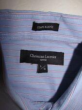 CHRISTIAN LACROIX Homme Blue Red White Striped Cotton Mens Shirt SZ L/G