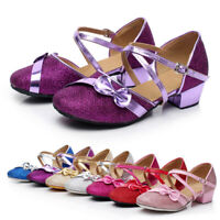 Girls Party Dance Shoes Low Heel Ballroom Tango Latin Bow for Toddler Baby Kids