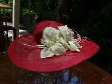 Melbourne Cup NEIL GRIGG MILLINERY Ladies Straw Wide Brim Hat Spring Races Pink