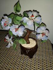 VINTAGE BONSAI CHERRY BLOSSOM TREE GLASS CHINESE