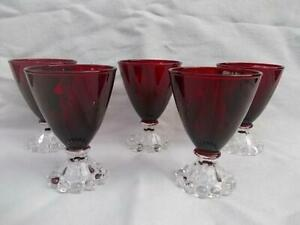 M398 / FIVE RUBY RED COLOUR ANCHOR HOCKING BOOPIE DRINKING GLASSES