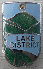 WALKING STICK BADGE WITH PINS - LAKE DISTRICT- BRASS CHROMIUM PLATED - BRAND NEW