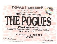 POGUES Liverpool Royal Court 1993 Used Ticket Stub 3x3 inches