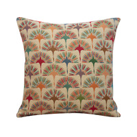 "Multicoloured Dandelion Tapestry Cushion. 17x17"" Square. Geometric Floral Design"