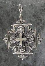 "Old Hutsul 3D Cross Pendant, Oxidized + Sterling Silver,large 1 1/2""X 1 1/2"""
