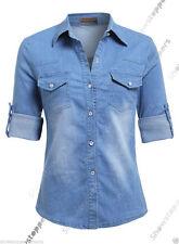 Denim Classic Collar Casual Tops & Shirts for Women