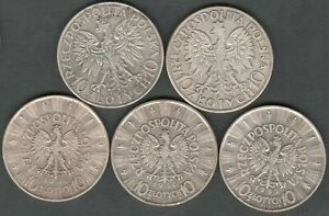Poland 10 Zlotych 1932 - 1937 Judwiga Pilsudski 5 High Grade Silver coins (1020)