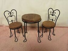 Doll Furniture -- Small Ice Cream Parlor Table & 2 Chairs - Apple Design Back