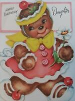 1950s Vtg Fancy GINGERBREAD GIRL Candy CHERRIES Daughter BIRTHDAY GREETING CARD