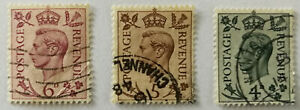 3 X George VI Timbres 4d, 5d & 6d 1937
