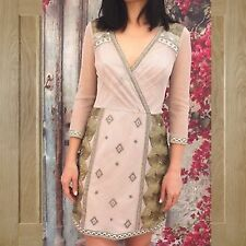 Size 16 UK Karen Millen Oriental Embroidered Luxe Metallic Plunge Mini Dress