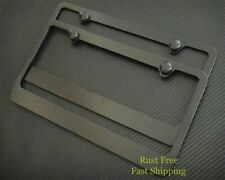 PLAIN BLACK-B  METAL LICENSE PLATE FRAME RUST FREE+CAPS X 2 TOYOTA HONDA MAZDA